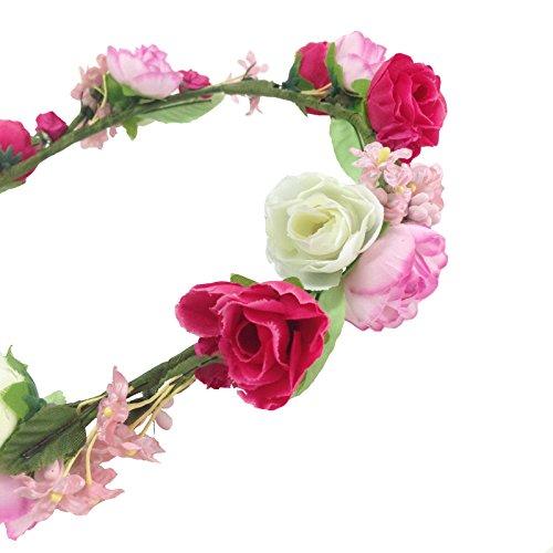 JTC Guirlande Couronne Floral Accessoire de Fête Mariage Bandeau de Cheveux Serre-tête Type6 rouge et rose