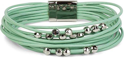 styleBREAKER weiches Armband mit schmalen Bändern und Schmuck Perlen, Magnetverschluss, Damen 05040096, Farbe:Mint