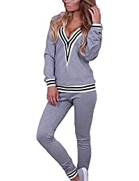 Chandal Mujer Ropa Deportiva Suave - Cómodo Trajes Yoga Fitness Pantalones  Jersey Manga Larga Juego Ropa 2 Piezas Sudadera Pantalones… d0e43e9eb58a