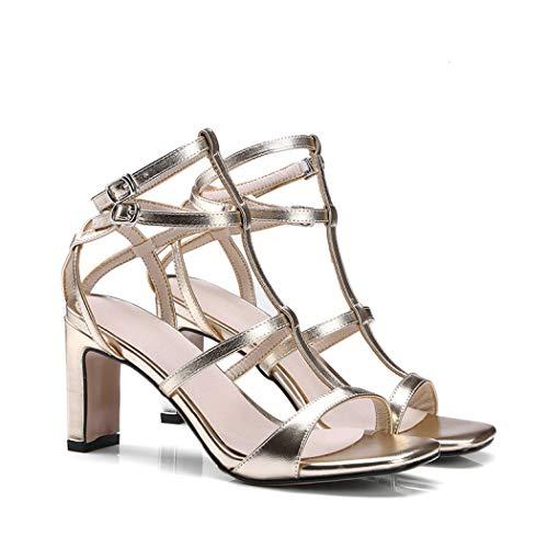 Chinese Laundry Open Toe Pumps (Damen Block-High Heels Roma Chunky Heels Strappy Open Toe Stiletto Lady Dress Party Pumps Schuhe, Gold - Gold - Größe: 38 EU)