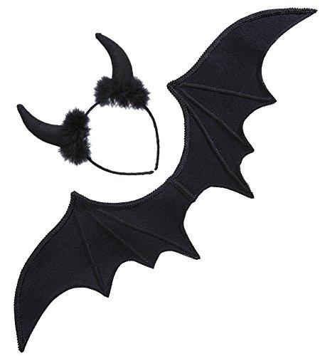 Panelize Teufel Fledermaus Halloween Schwarze Flügel mit Haarreif