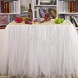 Tutu Gonna da tavola,garza da scrivania romantica da tavolo,decorazione da tavolo, per doccia bambino, matrimonio, compleanno, party, bar, promenade, San Valentino Natale(Bianco)