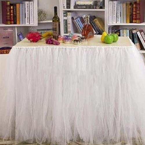 mantische Tischdeko mit Tüll, Tischdekoration, Schneeflocke Wonderland Tischdecke, für Baby-Dusche, Hochzeit, Geburtstag, Party, Bar, Prom, Valentinstag Weihnachten (Weiß) ()