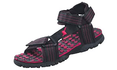 Sparx Men's Black and Red Athletic and Outdoor Sandals - 10 UK/India(SS-202)