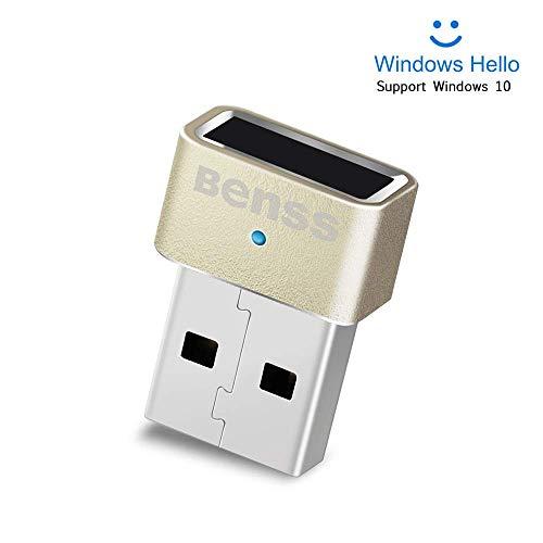 Benss Lettore di impronte Digitali Mini USB Fingerprint Reader per Windows 10, senza bisogno di driver, laptop / PC / desktop con abbinamento veloce a 360 gradi con certificazione WQHL.