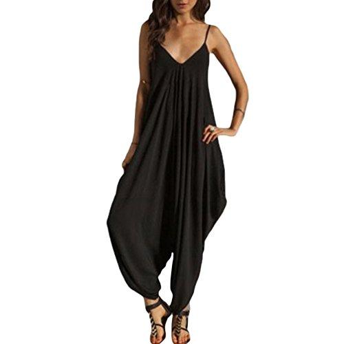 NiSeng Donna Elegante Estiva Baggy Strappy Pantaloncini Lunghi Jumpsuit Monopezzo Tuta Harem Pantaloni Nero M