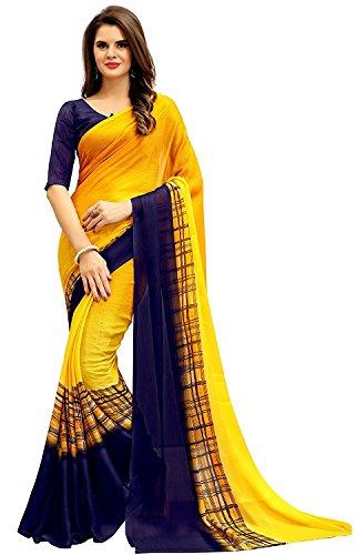 Vatsla Enterprise Women's Chiffon Saree With Blouse piece (VBAOTRSDLEAR_YELLOW)