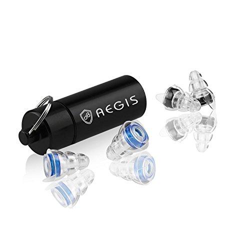 Tapones Protectores para los oídos Aegis con Contenedor de Aluminio|Protección de oído cómodo 20dB para la Música,Concierto,Festival,Estudio|Protección acústica de 25dB para Dormir,Deportes de Motor