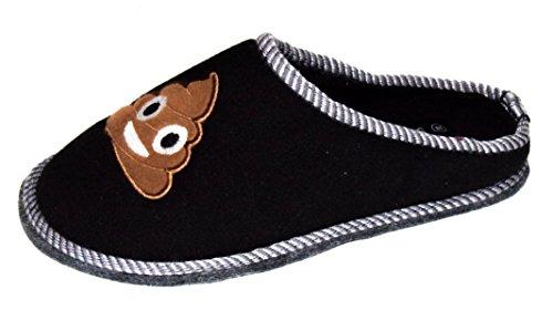 TMY -Kinder Filzpantoffeln mit Filzsohle/ Filzlatschen in Schwarz - Braun mit Emoji, Gr. von 30-35 Black
