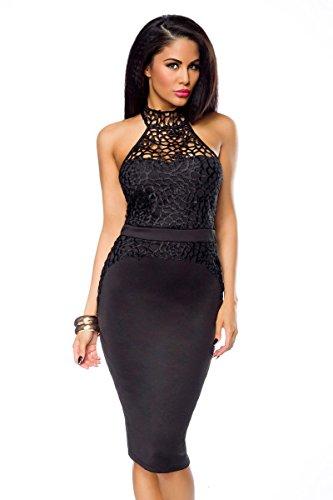 1001-kleine-Sachen at Abendkleid Agata mit Effektstoff Damen-Kleid Pencil-Kleid Neckholder-Kleid Paty-Kleid in schwarz (S (36))