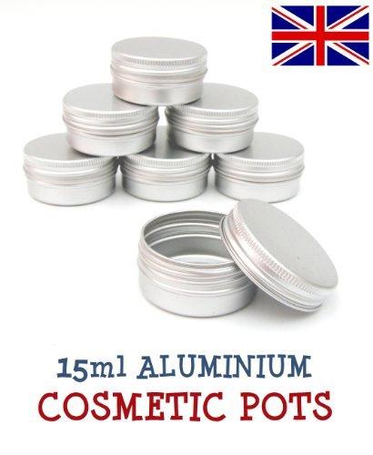 5 x 15ml Aluminium Lip Balm Pots 15ml Capacity Empty Small Mini Cosmetic/Lip Gloss/Nail Art Pots Tins Jars by Avalon Cosmetic Packaging -