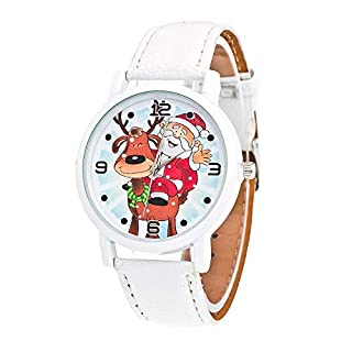 Christmas Gift Watch for Kids Children Santa Elk PU Band Wrist Watch Xmas Ornaments Quartz Watches Battery Operated (White)