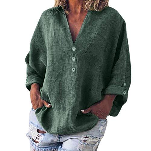QIMANZI Bluse Damen Mode Übergröße Solide Beiläufig LeinenV-Ausschnitt T-Shirt(C Grün,L) -