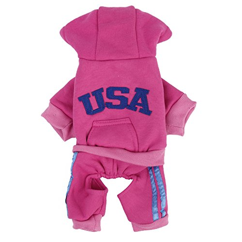 Imported USA Cotton Coat Jacket Hoodie Jumpsuit Small Boy Girl Dog Clothes S Pink