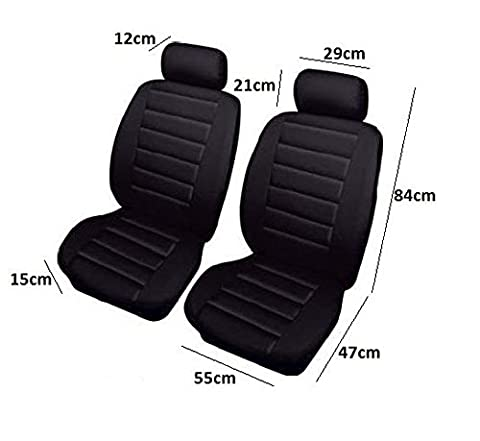 FRONT PAIR OF BLACK AIRBAG LEATHER LOOK CAR SEAT COVER PROTECTOR 2 Year Warranty