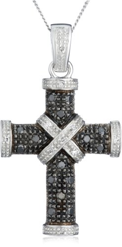 Carissima Gold 9 ct White Gold 0.25 ct Black and White Diamond Cross Pendant on Adjustable Curb Chain Necklace of 46 cm/18 inch