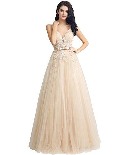 Clearbridal Damen Tüll Lang Ballkleid Abendkleid Abschlusskleid V-Ausschnitt mit Spitze Champagner...