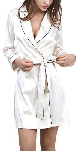 FLYCHEN Robes de Chambre et Kimonos Vêtements de nuit Femme Sexy Classique Peignoir 3 Couleurs Blanc-4