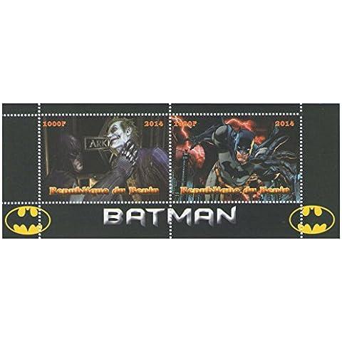 Batman Marvel novela gráfica hoja de sellos para coleccionistas con 2 sellos / 2014 / Benin / MNH