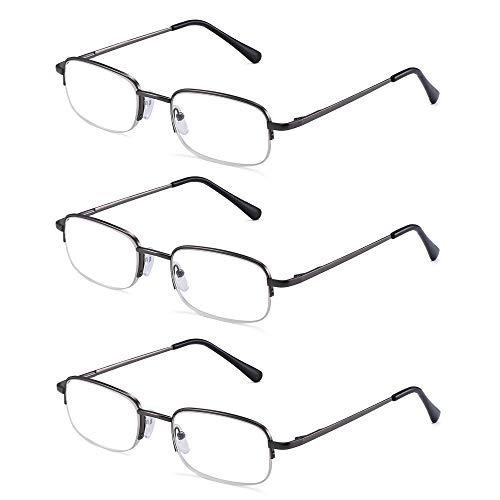 JM Lesebrille Satz von 3 Halber Rand Metall Brille für Lesen Dauerhaft Federscharnier Leser Damen Herren +1.5 Gunmetal