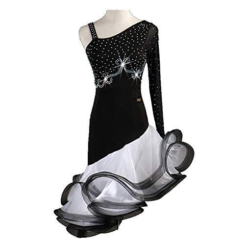 MDWDQ Professional Latin Tanzwettbewerb Kleider für Damen Strasssteine Ärmellos Nackten Rücken Zumba Cha Cha Tangotanzkostüm Party Performance Rock,Black+White,XL