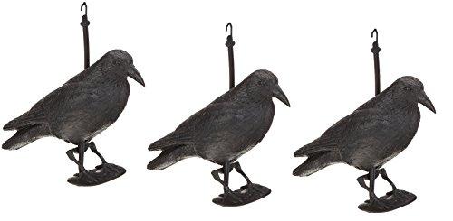 Hillfield Schwarzer Rabe fliegend oder sitzend Kunststoff Taubenschreck Taubenabwehr Vogelschreck (3 Raben stehend)