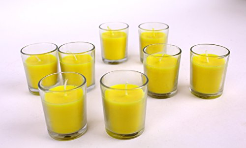 Hosley Glass and Wax Citronella Candle (22 cm x 11 cm x 6.5 cm, Yellow, Set of 8)