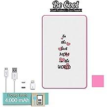 Becool® - Batería Externa Power Bank 4000 mah Rosa + Gratis 1 cable USB-MicroUsb (Android) y adaptador lightning (Apple). Mejor Mamá del mundo