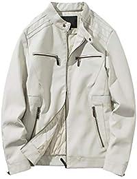 Lederjacke Herren Manadlian Männer Herbst Winter Leder Jacke Biker Motorrad  Reißverschluss Outwear Mantel Bluse 524f048d0f