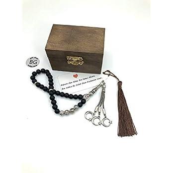 isimli tesbih, Onyx, tesbih,Ahşap kutulu, geschenkidee für männer, personalisierte geschenke