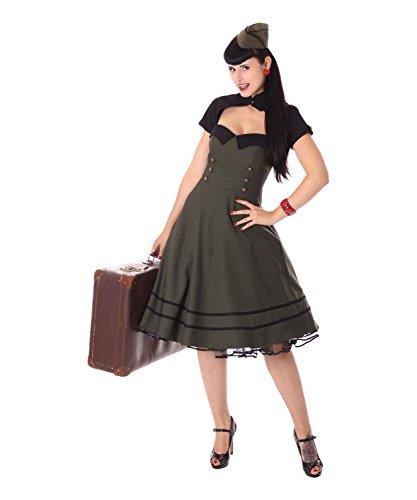 SugarShock Harbor Military Uniform Petticoat Bolero Kleid, Größe:XL, Farbe:armygrün