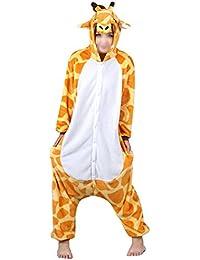 "Unisex Adult Anime cosplay costumes onesie/pyjamas/sleepwear -Unicorn/Bear/Cow/Dinosaur/Giraffe/Panda/Stitch/Totoro/Wolf/Pikachu (M Size fit for height 160CM-170CM (63""-67""), Giraffe)"