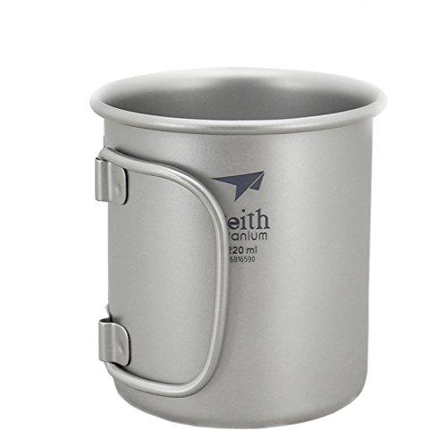 Keith Titanium Cup Folding Handle Camping Mug Outdoor Tableware(220ml.Ti3200)