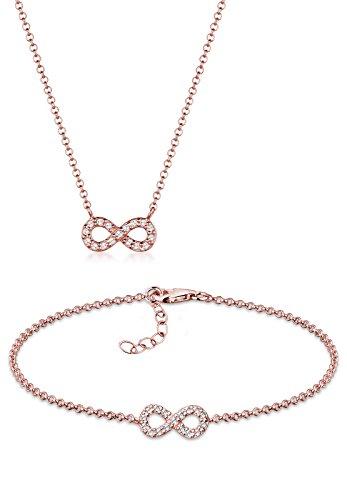 Elli Damen-Halskette + Ohrringe Infinity 925 Sterling Silber rosévergoldet Swarovski Kristalle 45 cm 0906721316_45