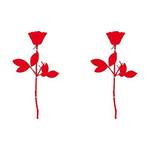 Rose 10cm Auto Fenster Spiegel Aufkleber Tattoo die cut decals vinyl selbstklebende Deko Folie Depeche Mode (2 Stück rot) (Tattoo Vinyl-aufkleber)