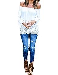 QHGstore Mujeres Off Camiseta de hombro Ladies Strapless T Shirt Casual suelta Tops Blusas blanco XL