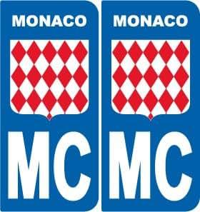 2 stickers drapeau monaco style plaque immatriculation d partement mc. Black Bedroom Furniture Sets. Home Design Ideas
