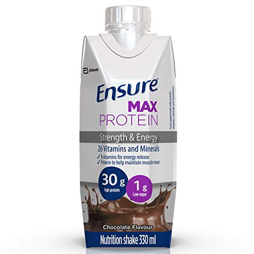 Ensure Max Protein Shake, Schokoladengeschmack, mit 30g hochwertigem Protein, 1g Zucker, 26 Vitamine & Mineralstoffe, 8er Pack (8 x 330 ml)