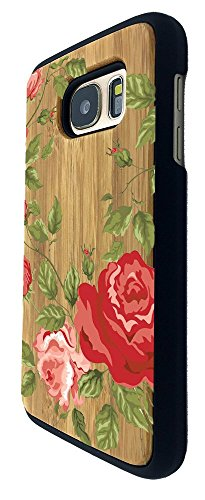 Preisvergleich Produktbild C0931 - Shabby Chic Floral Fleurs Red And Pink Roses Design Samsung Galaxy S7 Edge G930 Natural Holz Real Wood Hülle Case Cover