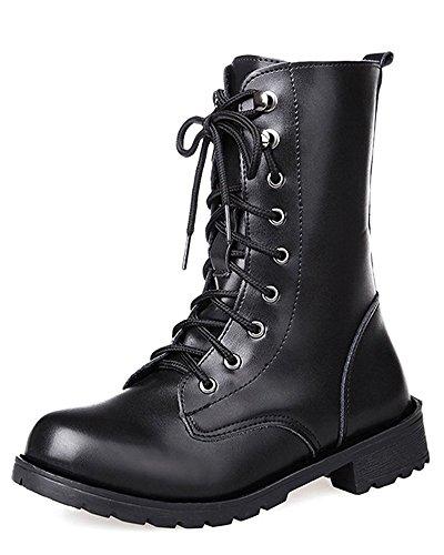 Tomwell Damen Mode Westernstiefelette PU Leder Knöchel Boots Herbst Winter Warm Kampf Stiefel Worker Boots Schwarz EU 39 (Slouch Schnallen-knie-boot)