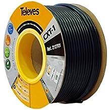 Televes 212701, Cable Coaxial Acero-Cobre CXT1, Negro, PVC (Bobina Madera