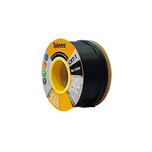 Televes 212701, Cable Coaxial Acero-Cobre CXT1, Negro, PVC (Bobina Madera 100 m)