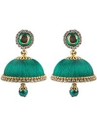 Krishna Handmade Dangling Drops Silk Thread Jhumkas - [30 Mm - Large] [1 Set Of Earring] [Dark Green]