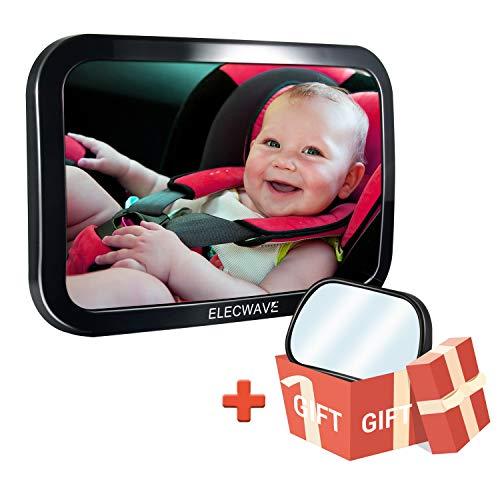 Elecwave Rücksitzspiegel fürs Babys, Größter sicherster und stabilster Rückansicht Baby - Autositzspiegel Komplett montierter, verstellbarer und breiter konvexer bruchsicherer Glasüberzug