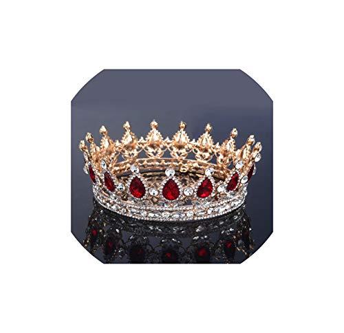 Königin König Bride Tiara-Krone für Frauen Kopfschmuck Prom Braut Hochzeit Tiaras und Kronen-Haar-Zusätze, Gold überzogene rote