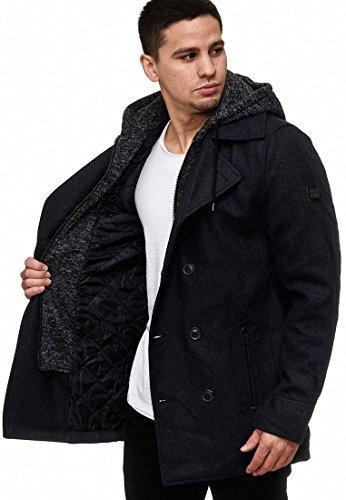 Indicode Herren Cliff Jacke Lange Jacke aus Hochwertiger Wollmischung mit Stehkragen Black M - 4