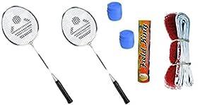Cosco Badminton Kit 2 Rackets, 2 Grip, 1 Nylon Net, 1 Fieldking Shuttle Cock - Pack of 10
