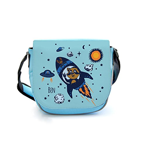 ilka parey wandtattoo-welt Kindergartentasche Kindertasche Umhängetasche Schultertasche Tasche Bär im Weltraum mit Wunschnamen kgt07