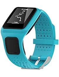 TomTom Runner Cardio Correa, Malloom Repuesto del gel de silicona banda correa para TomTom Runner Cardio Sport GPS Reloj (Azul)