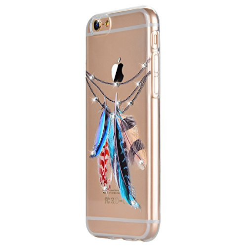GrandEver iPhone 6 Hülle, iPhone 6S Weiche Silikon Transparent Handyhülle Diamant Schutzhülle mit Tribal Feder Muster Crystal Clear Schlank TPU Bumper Handytasche Ultra Slim Kunstleder Zurück Soft Ski Tribal Feder